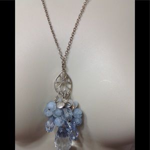 Pendant silver necklace with blue crystals